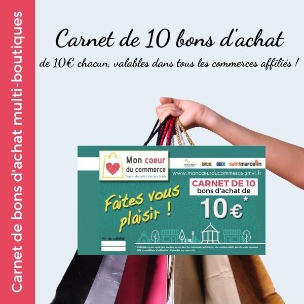 Carnet de 10 bons d'achat multiboutique - Mon Coeur du Commerce
